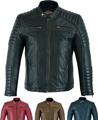 Mens Casual Leather Jacket - Genuine Soft Touch Sheepskin Biker Motorcycle Style Leather - Texpeed