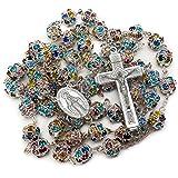 Nazareth Store - Collana cattolica con perline di cristallo colorate, con medaglietta miracolosa, multicolore - sacchetto di
