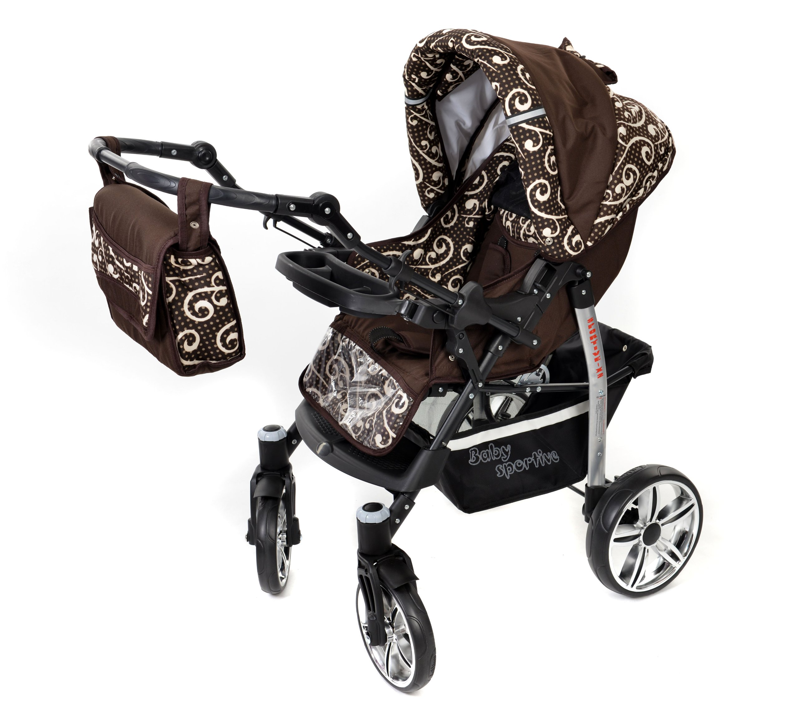 Sportive X2, 3-in-1 Travel System incl. Baby Pram with Swivel Wheels, Car Seat, Pushchair & Accessories (3-in-1 Travel System, Brown & Wawy Lines)  3 in 1 Travel System All in One Set - Pram, Car Carrier Seat and Sport Buggy + Accessories: carrier bag, rain protection, mosquito net, changing mat, removable bottle holder and removable tray for your child's bits and pieces Suitable from birth, Easy Quick Folding System; Large storage basket; Turnable handle bar that allows to face or rear the drive direction; Quick release rear wheels for easy cleaning after muddy walks Front lockable 360o swivel wheels for manoeuvrability , Small sized when folded, fits into many small car trunks, Carry-cot with a removable hood, Reflective elements for better visibility 5