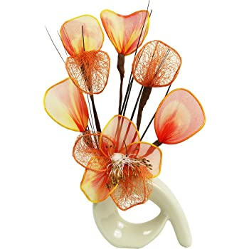 Flourish 792923 - Composizione di fiori artificiali mini, a spirale, 32 cm, colore: arancione/marrone