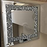 CRUSHED JEWELS DIAMANTE MIRRORED CANDLE PLATE WEDDING TABLE centrepiece bling