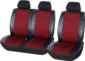 Universal Autositzbezüge Rot für Iveco Daily III BUS 1+1 Vorne Schonbezug Auto
