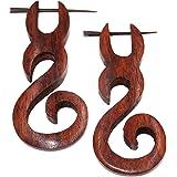 Faux Dilatatori legno orecchini Piercing Uomo Donna Wooden Fake Expander Gauge Wood Earring Earrings Fake Coppia spirale marr