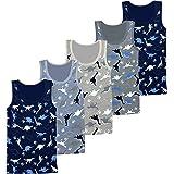 LOREZA ® Camiseta Interior de Tirantes para niño - Algodón - Motivo Dinosaurios - Disponible en Tallas de 2 a 11 años - Pack