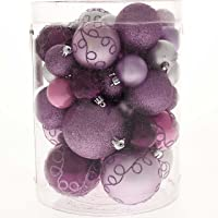 WeRChristmas Shatterproof Deluxe Christmas Tree Baubles, 50-Piece - Purple/Pink/Silver