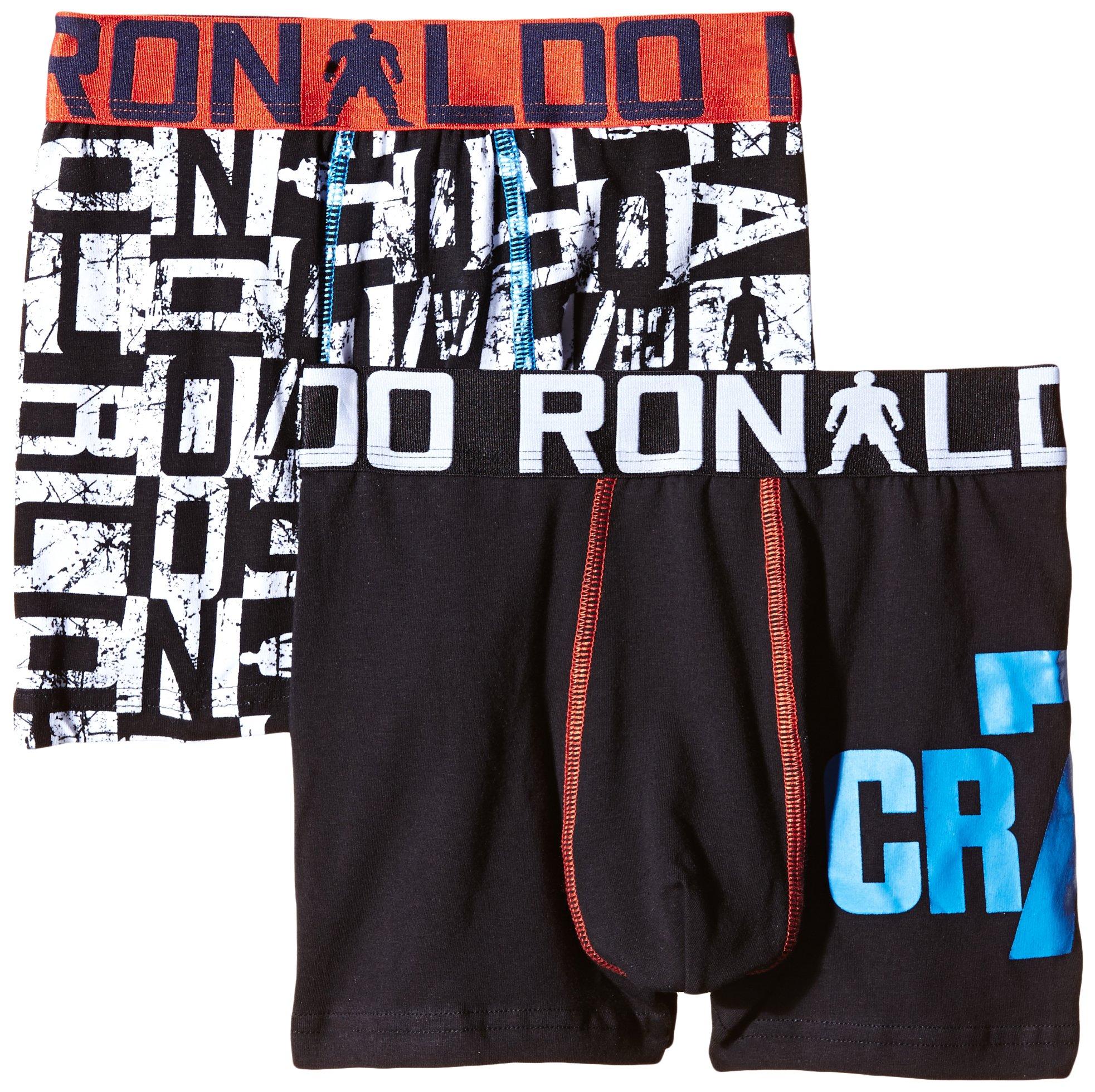 CR7 CRISTIANO RONALDO, Boxer aderenti Bambino, 2 pz., Nero (Schwarz/Weiß), 4/6 anni