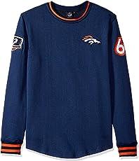 NFL Denver Broncos Men's Fleece Sweatshirt Long Sleeve Shirt Rib Stripe, Medium, Navy