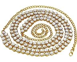 MEENAZ Stylish Traditional Jewellery Gold Kundan Wedding Saree Waist Belly Chain/Kamarbandh Kamarband for Women Girls Wedding