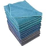 Polyte - 12 torchons de Cuisine en Microfibres Premium - Polyvalent - Tissu éponge côtelé - Bleu/Gris/Turquoise - 40,6 x 71,1
