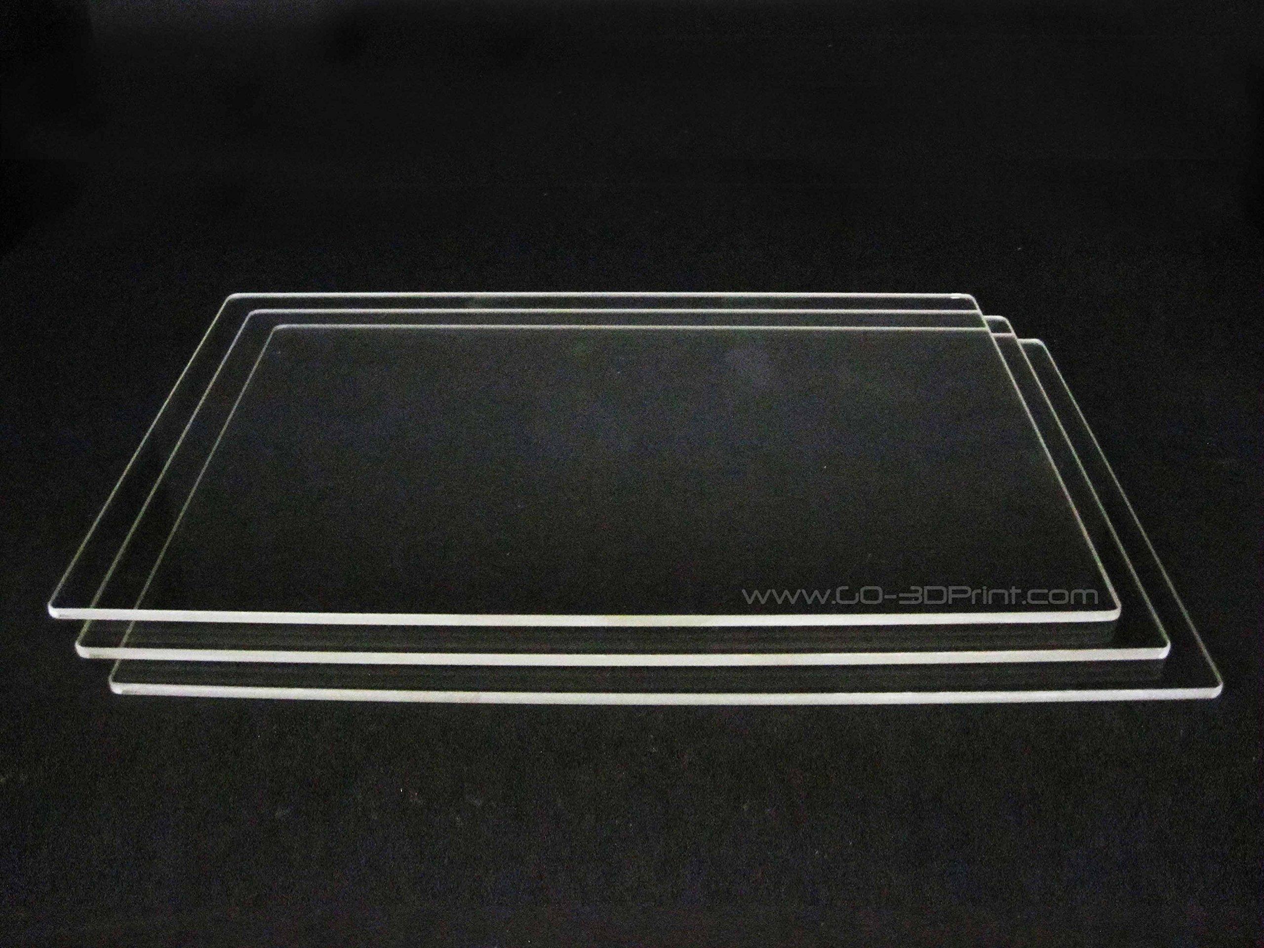 150mm x 230mm Plaque de verre borosilicate/lit W/plat poli Edge pour Flashforge Creator et MakerBot Replicator imprimante 3d–Lot de 3