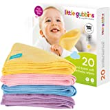 Little Gubbins 20 Microfibre Baby Wipes with FREE Laundry Bag | Pack of 20 x 20cm Reusable, Washable, Dry, Unscented Cloths | Multipack of Rainbow Colours Ideal for Hands & Faces