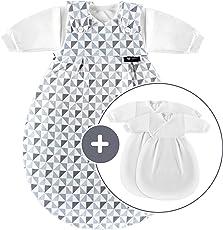 Alvi Baby Mäxchen Original/Ganzjahres Baby-Schlafsack - 3-tlg. mit gefüttertem Außensack und 2 Innensäcken mit Ärmeln/mitwachsend / Birnenform - Silber Grau