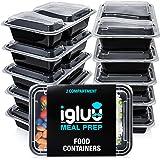 Contenitori Per Alimenti Ermetici Con 2 Scomparti (Set di 10) - Recipienti Di Plastica Senza BPA E Impilabili - Scatole Bento