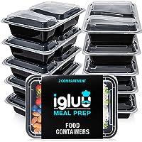 Igluu Meal Prep - [Lot de 10] Boîtes alimentaires à 2 compartiments pour préparation des repas - Réutilisables, sans BPA…