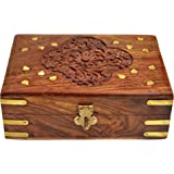 ITOS365 Handmade Wooden Jewellery Box for Women Jewel Organizer Hand Carved Gift Items, 7 Inches
