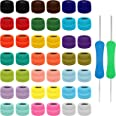 Kurtzy Kleurrijk Haak Garen (42 Ballen) – 2 Haaknaalden Inbegrepen (1 mm & 2 mm) – Elke Bal Weegt 10 g – Totaal 2520 m aan Ge