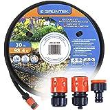 GRÜNTEK Druppelslangset, parelslang 30 m, incl. aansluitingen 1/2 inch, 3/4 inch, Quick-Fix, uv- en algenbescherming, tot 70%