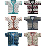 NammaBaby Cotton Front Open Half Sleeves JHABLA Summer Vest- Tshirt -Multi Print Multicolour Set of 6