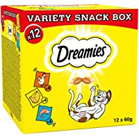 Dreamies Prime Day Cat Treats Variety Pack, Snacks with Chicken, Salmon and Cheese, 12 Pouches of 60 g