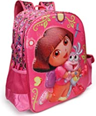 Dora The Explorer Pink School Bag for Children of Age Group 3 - 5 years | Size 14 inch | Material Satin