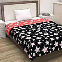 Divine Casa Microfibre Comforters Single Bed Also Use As Blankets, Throws & Quilts, Abstract- Peach and Black (110 GSM)