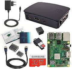 V-Kits Raspberry Pi 3 Model B+ (Plus) Complete Starter Kit mit offizieles schwarzes Case (EU Edition) -Enthalt: Raspberry Pi 3 Model B+ (Plus) mit 5 Wesentlich Zubehör