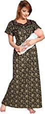 SOULEMO WOMENS FEEDING NIGHTY MATERNITY DRESS. MICRO POLY-VISCOSE FABRIC (best for rainy & winter season) with no shrinkage & no colour fading problem at all. 615