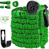 Kesser® 22,5m Flexibler Gartenschlauch Basic Wasserschlauch dehnbarer Flexischlauch Multisfunktionsbrause mit 8 Funktionen, Adapter inkulsive passend für jeden Wasserhahn mit Gewinde, Grün