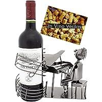 BRUBAKER - Porte-Bouteille de vin - Pianiste Chanteur/Piano à Queue - Métal - Carte de vœux Incluse - Idée Cadeau…