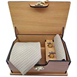 Ollera Men Premium Neck Tie and Pocket Square with Cufflink Combo Gift Set in Premium Wooden Box(Cream, Free Size)
