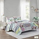 تصميم ذكي صني 2 في 1 لحاف ، مرقع بنقشة الزهور، يصلح للاستخدام على الجنبين عصري وفاخر طوال الموسم غطاء سرير مفرش سرير مع شرشف
