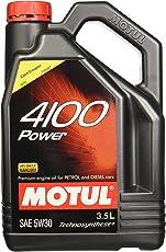 Motul 4100 Power SAE 5W30 Semi Synthetic Engine Oil for Petrol,Diesel,CNG & LPG Cars (3.5 L)