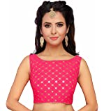STUDIO Shringaar Women's Pink Embroidered Sleeveless Saree Blouse With Boat Neck