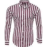 Kayhan Originale Uomo Camicia a Righe Slim Fit Facile Stiro Cotone Maniche Lungo S M L XL XXL 2XL -Modello Stripes