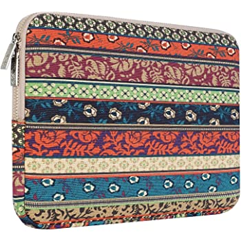 MOSISO Laptop Sleeve, Bohemian Style Canvas Fabric Case Bag Cover Compatible 15-15.6 Inch MacBook Pro, Notebook Computer, Mystic Forest