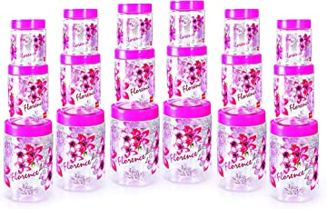 Cello Florence Plastic Canister Set, 18-Pieces, Clear Pink