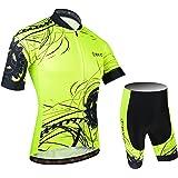 BXIO Hombres Jersey de Ciclo Bike Wear Yellow Fluo Carrera de Calle 183