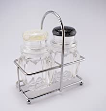 MeRaYo™ Acrylic Salt and Pepper Shakers Set with Stainless Steel Stand (2 Piece Set)