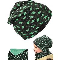 HECKBO Set di berretto e sciarpa da bambino con dinosauro Dino – 2 – 8 anni – 95% cotone – morbido e facile da pulire