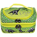 FRINGOO® Multi-Compartment Kids Lunch Bag Thermal Insulated Cooler Bag School Nursery Double Decker Food Snacks Carrier (Dinosaur Lunch Time)