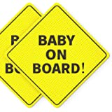 Baby On Board Sticker Sign - Essential for Cars - 2 Pack, 5' by 5' - Bright Yellow and SEE-THROUGH when Reversing - Best…
