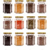 KEMJO Set of 12 Hexagon Glass Jar & Container with Golden lid (250 ml) with Rust Proof Air Tight Lid, Suitable to use in Your