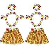 HONGXIN-SHOP Falda de Hierba Hawaiana con Elástica Flores Disfraces Guirnalda Diadema Pulsera Collar para Niñas Mujer Fiesta
