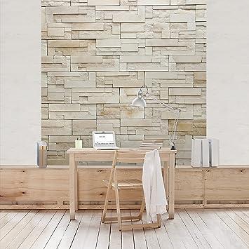 Fototapete | Steintapete Provence Stones - Vliestapete Quadrat ... Steintapete Beige Wohnzimmer