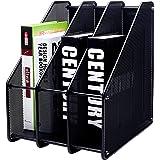 EXERZ Magazine Holder Triple Rack, Mesh Metal - 3 Compartments Documents/Notebooks/Folder/Organiser (Black)