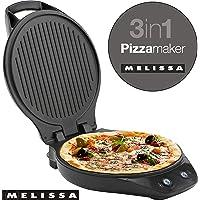 Melissa 16250069 Piastra per Cottura Pizza, Hamburger e Panini, Grill 3 in 1 da Tavolo