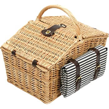 Greenfield Collection Deluxe Somerley Willow 4 Person Picnic Hamper with Matching Blanket - Midnight Blue and White Striped Lining
