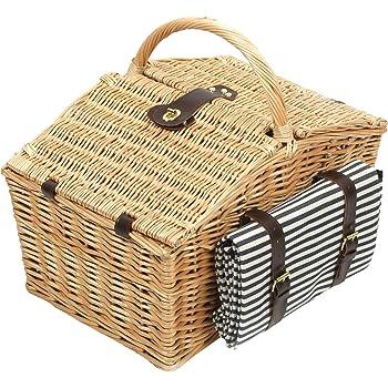 Greenfield Collection (HP003) Deluxe Somerley Picknickkorb für 4 Personen mit passender Decke, Weide, gestreiftes Futter: Mitternachtsblau - Weiß gestreift