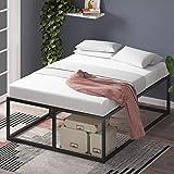 Cadre de lit plateforme en métal 46 cm Joseph ZINUS | Sommier | Support à lattes en bois | Rangement sous le lit | 140 x 190