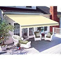 Greenbay 2.5 x 2m DIY Patio Retractable Manual Awning Garden Sun Shade Canopy Gazebo Cream with Fittings and Crank Handle